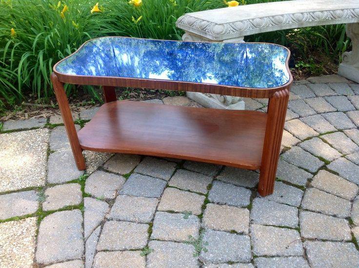 Vintage Art Deco Modern Cobalt Blue Glass Mirror Top