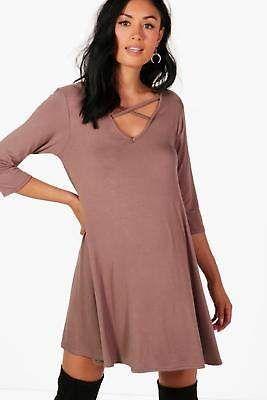b65927d4fb1cd Boohoo Womens Maternity Erin Cross Strap Swing Dress | Global ...
