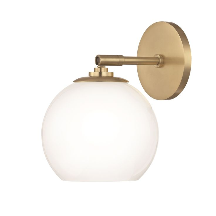 Mitzi by Hudson Valley Tilly LED Aged Brass Wall Sconce, Clear Glass Outside Etched Glass Inside, Gold (Metal)