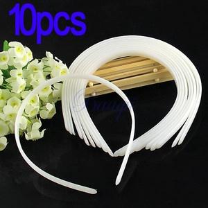 Vendeur de serre-têtes lisses 10mm ebay 10pcs Fashion White Color Plain Lady Plastic Hair Bands Headbands No Teeth DIY   eBay