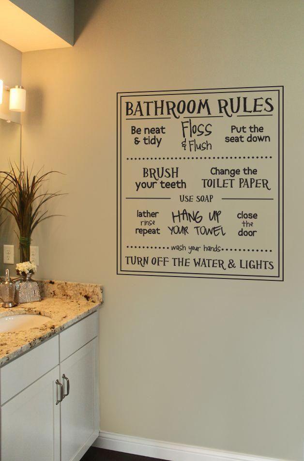 Fun Bathroom Rules Wall Decal Bathroom Rules Diy Bathroom Decor Bathroom Decor