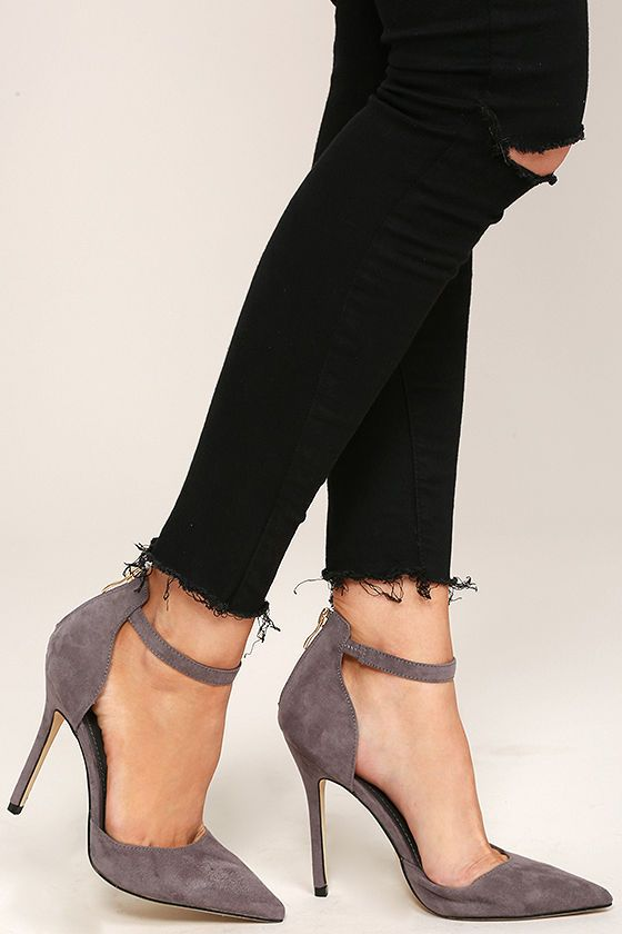 "The Harvest Party Grey Suede Ankle Strap Heels will add a touch of class to your next holiday celebration! A vegan suede pointed-toe upper has a matching heel cup, with 3"" zipper, and ankle strap."