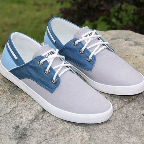 Chaussures bateau Homme Sneakers casual shoes canvas toile chic Bleu