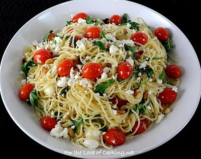 Pasta with Arugula, Feta Tomatoes, and Pine Nuts...I could ...