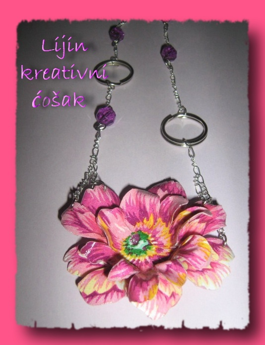 handmade, decoupaged necklace, sospeso trasparente technique