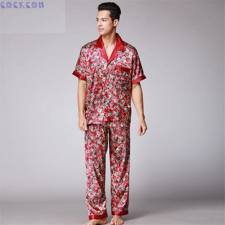 COCKCON Luxury Male Sleepwear short-Sleeve Men Pyjamas Pajama Sets Pants Autumn Men Silk Pajamas Set tz021