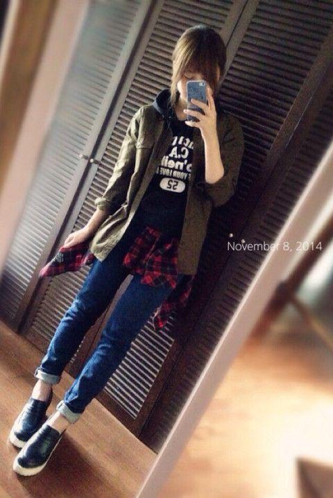 ミリタリーシャツ…GU ボトム…しまむら チェックシャツ…しまむら    シャツとパーカーを重ね着(´◡`๑)  パーカーの重ね着って好きです…♡ シャツから出るフードが好き!   靴は色を染めたのです✨ 染めてから履き回しやすくなった笑         (´-`).。oO(BLOG☟ http://s.ameblo.jp/green-apple-31