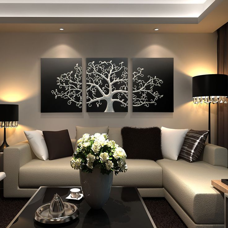 Home Decor Shop Design Ideas: Tree Of Life 3 Panel Wall Art Black Silver Tree