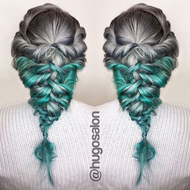 Silver and turquoise hair color with boho braid by of Hugo Salon hotonbeauty.com