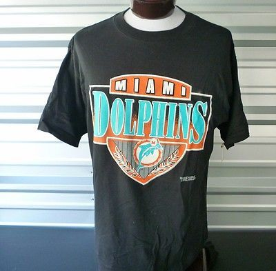 Vintage Trench Ultra Miami Dolphins Black Crew T Shirt XL Made in USA Football
