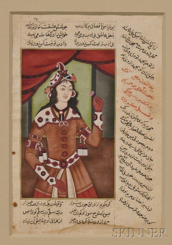 Miniatura del periodo Qajar; tardo 19° sec. - Donna in un elaborato abito impreziosito con gioielli.