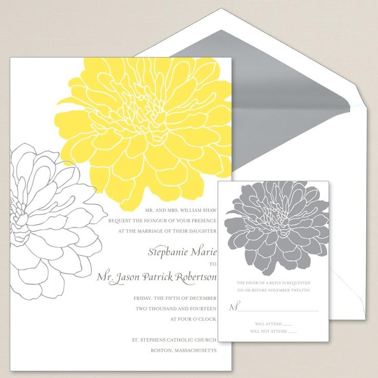 Passionate Peony Wedding Invitation | #exclusivelyweddings | #yellowwedding