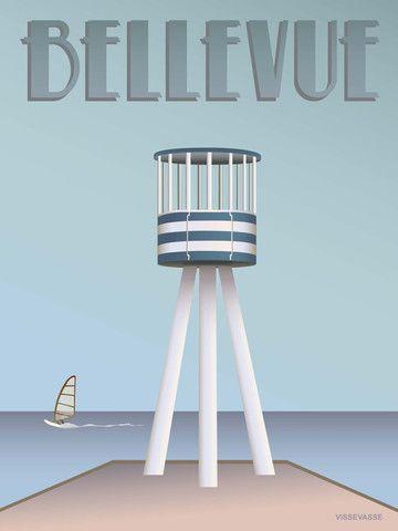 Vissevasse plakat BELLEVUE - Livreddertårnet  Bløde badejern, seje sommersild og så de endnu flottere livreddertårn til at passe på dem. Hvem kunne ikke forestille sig David Hasselhoff og Pamela Anderson stå der i rødt badetøj med et årvågent blik på de badende gæster?  Måske var det ikke helt det, Arne Jacobsen tænkte på, da han tegnede tårnene og badeanlægget i 1932. Men han tænkte sig under alle omstændigheder godt om, da han byggede denne perle på kysten.
