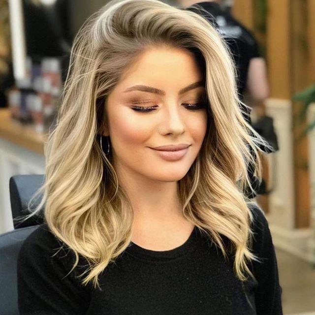 Schulterlang blonde haare Frisuren Schulterlang