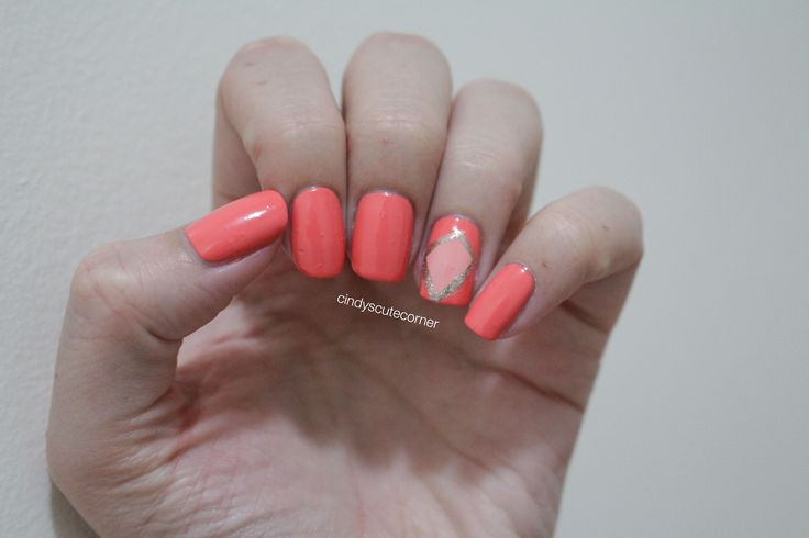 Peach Square Nails. Simple and elegant nail design. perfect nail art for spring and summer :)