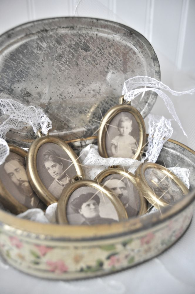 copy vintage/antique photos of your family/grandparents & place them in old miniature frames.