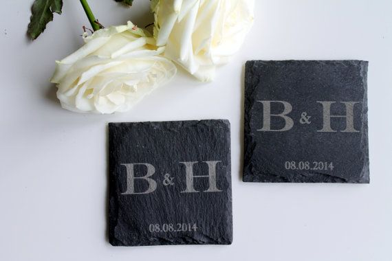 Slate coasters with initials, personalized, gift, anniversary, wedding / slate coaster with initials, personalized
