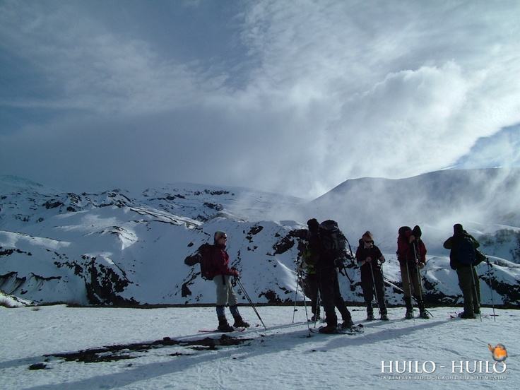 Ruta Mocho-Choshuenco en esquí Randonée. Huilo Huilo