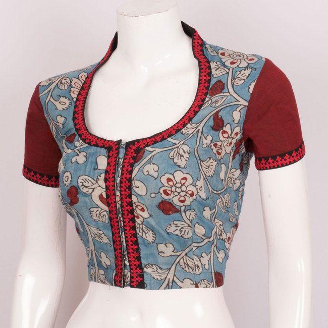 Hand Painted Pen Kalamkari Cotton Blouse With Embroidered Sleeve & Lining 10020294 - 42 - AVISHYA.COM