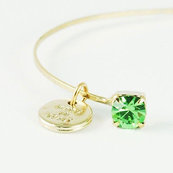Caterina Mariani Bijoux Swarovski Peridot Bracelet (105 DKK) ❤ liked on Polyvore featuring jewelry, bracelets, blue, blue jewelry, peridot jewellery, peridot jewelry, swarovski crystal bangle and blue bangles