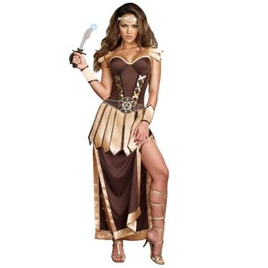 This warrior always has time for fun, even though there are battles to be won. You'll look like one fierce fighter in the Remember The Trojans Adult Costume which includes: A convertible corset styled dress with foam underwire cups and an attached embellished rhinestone encrusted belt and a zip off ankle length skirt. A pair of wrist gauntlets, sword and a headpiece are also included in this glamorous gladiator costume.  Available in Adult Sizes: Small, Medium, Large and X-Large