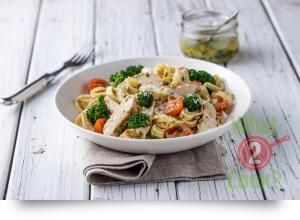 Turkey Fettuccine with Tomatoes, Broccolini and Basil