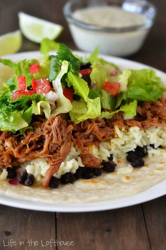 "CAFE RIO SWEET PORK - ""This pork is SO flavorful! It's perfect in burritos, tacos and salads. We love to place a tortilla on a plate, then top it with black beans, rice and the sweet pork, just like Café Rio does."""