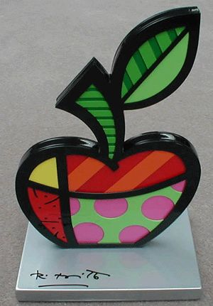Romero Britto-apple-sculpture