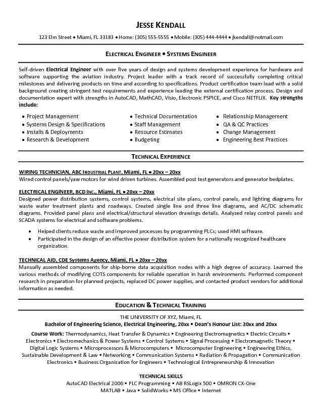 42 best Best Engineering Resume Templates \ Samples images on - electrical engineer resume
