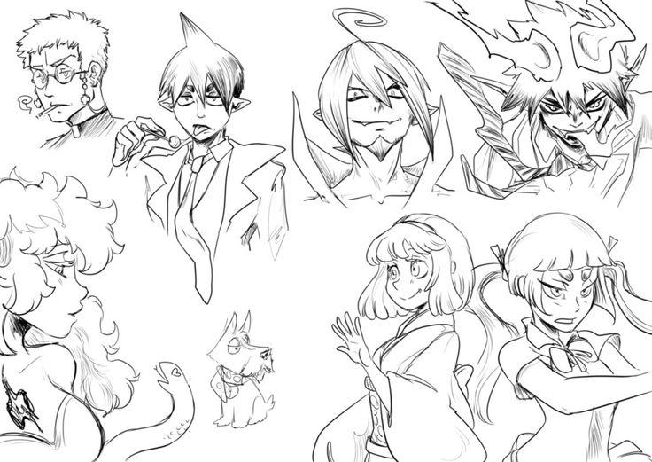 Blue Exorcist character sketches by JadeGL.deviantart.com on @DeviantArt