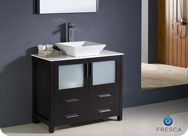 Fresca Torino Espresso Brown Modern Bathroom Vanity With Vessel Sink