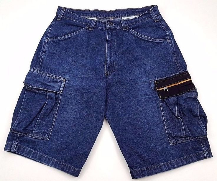 POLO Jeans CO Shorts DENIM 33 Mens SIZE Cotton CARGO Pockets SZ Stash SHORT Blue #Cargo #Denim