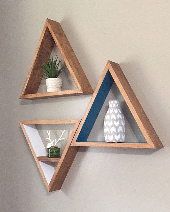 Stained and painted triangle shelf. Outside of triangle shelves will be stained in stain of your choice and the interior will be painted in a