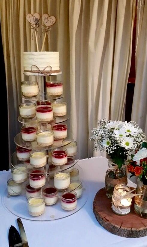 Rustic wedding cake alternative.... cheesecakes in a jar.  www.smalldelights.net.au