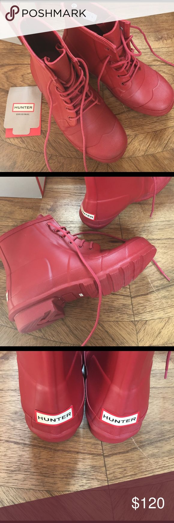 Hunter original lace up rain boot Brand new & never worn.  Super cute & versatile year round water proof original lace up rain boots by hunter in military red.  Pet free smoke free posher.  Purchased from Nordstrom, Boots in original box without lid. Hunter Shoes Winter & Rain Boots