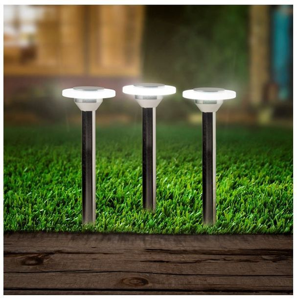 Juego de 3 Luces decorativas de jardin LED. 90 Lumenes. Luz blanca.