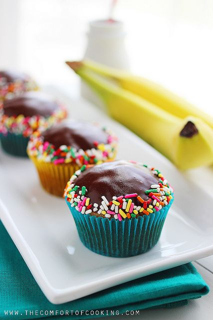 chocolate-glazed banana bread muffins