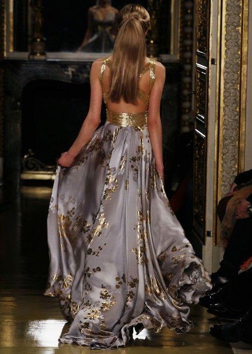 : Zuhairmurad, Beautiful Chanel, Zuhair Murad, Chanel Dresses, Backless Dresses, Color, Beautiful Dresses, Fabrics, Gold Accent