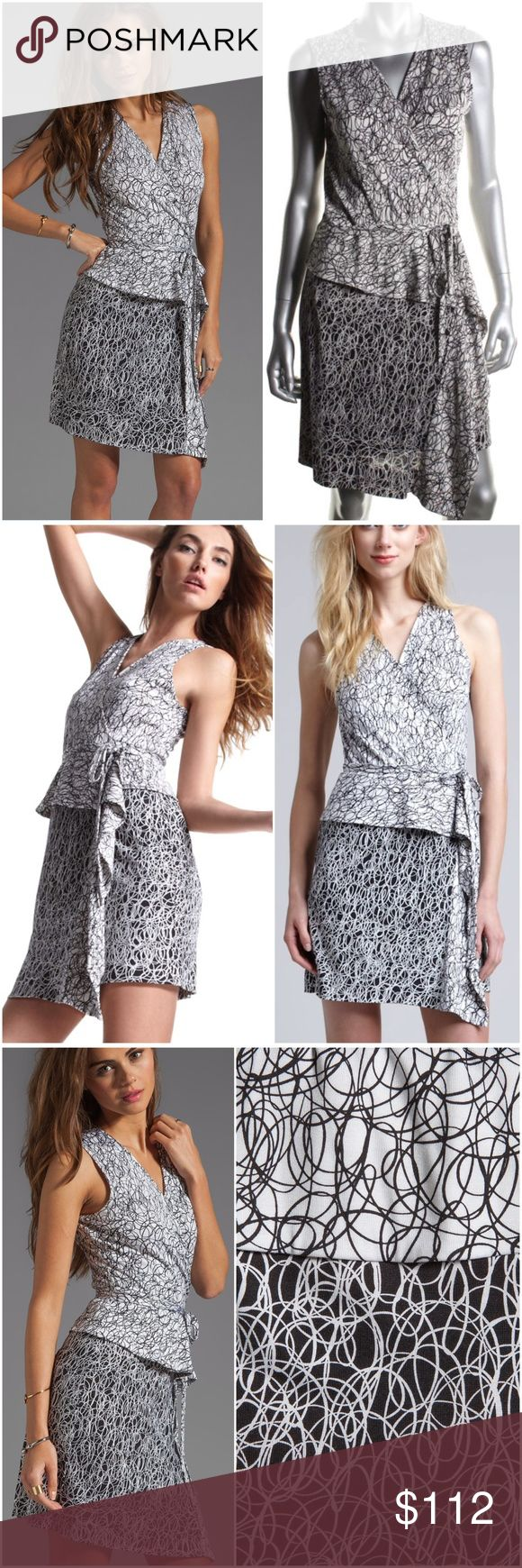"""DVF Diane Von Furstenberg Mililani SILK Wrap Dress RETAIL: $385.00.    Diane Von Furstenberg Mililani Black White Scribble Print 100% SILK Wrap Dress 100% Silk A-Line Sleeveless Tie Closure Knee-Length  New Without Tags; Store Display; In excellent condition! 💥SIZE:⬇️⬇️ ➡️(FLAW: Missing manufacturer size tag) ⬅️ SEE MEASUREMENTS-- Total Length: 37 1/2"""" Bust Across: 17 1/2"""" Waist Across: 16"""" Diane von Furstenberg Dresses"""