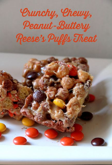 A quick and easy Halloween treat recipe: Halloween Reese's Puffs Treats (with a ghostly DIY!) #halloween #recipe