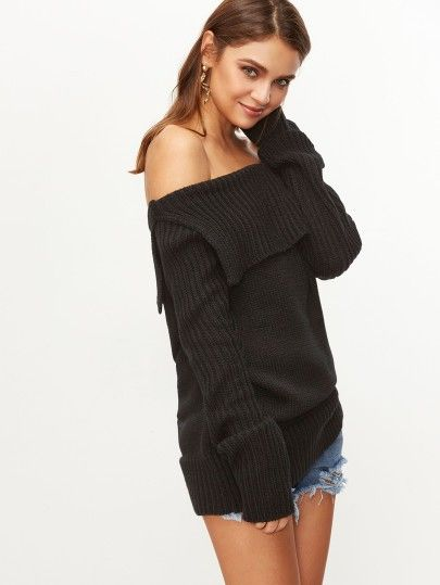 Pullover 2017 Falten Bardot Schwarz