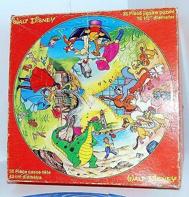 Vintage Round Walt Disney Jigsaw Puzzle 35 Pcs Four Scene