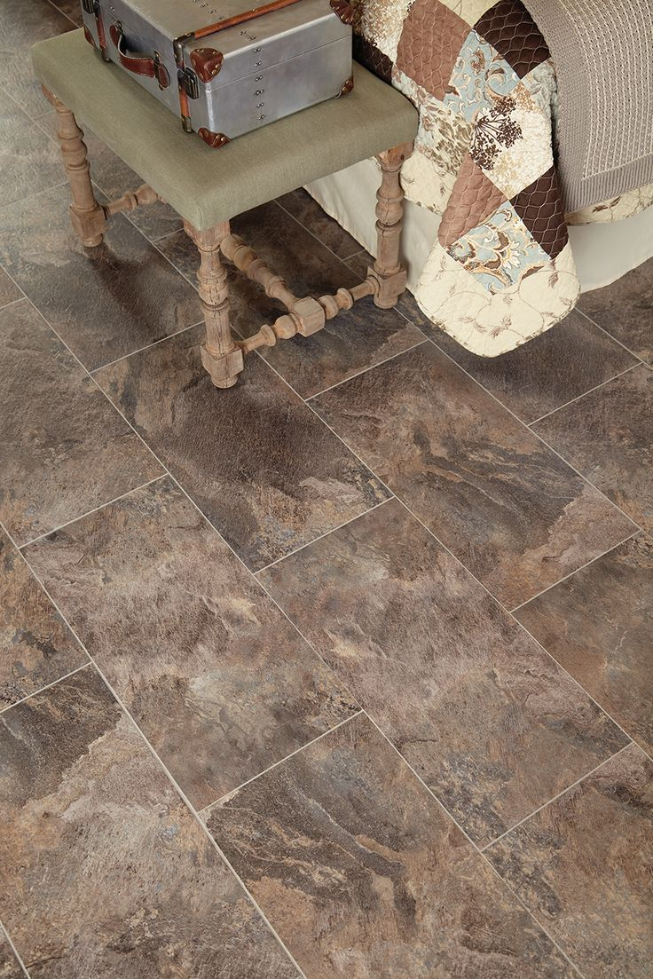 STAINMASTER® 12 In X 24 In Groutable Harbor Slate/Brown Peel . Slate FlooringVinyl  Tile FlooringBathroom ...