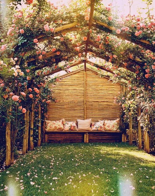 Gorgeous outdoor secret sitting area is great inspiration for the garden party Anya and Quinn are attending