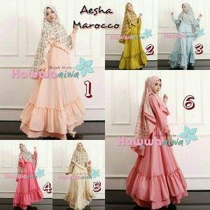 jual baju model gamis hijab syar'i terbaru murah aesha marocco hawwa aiwa