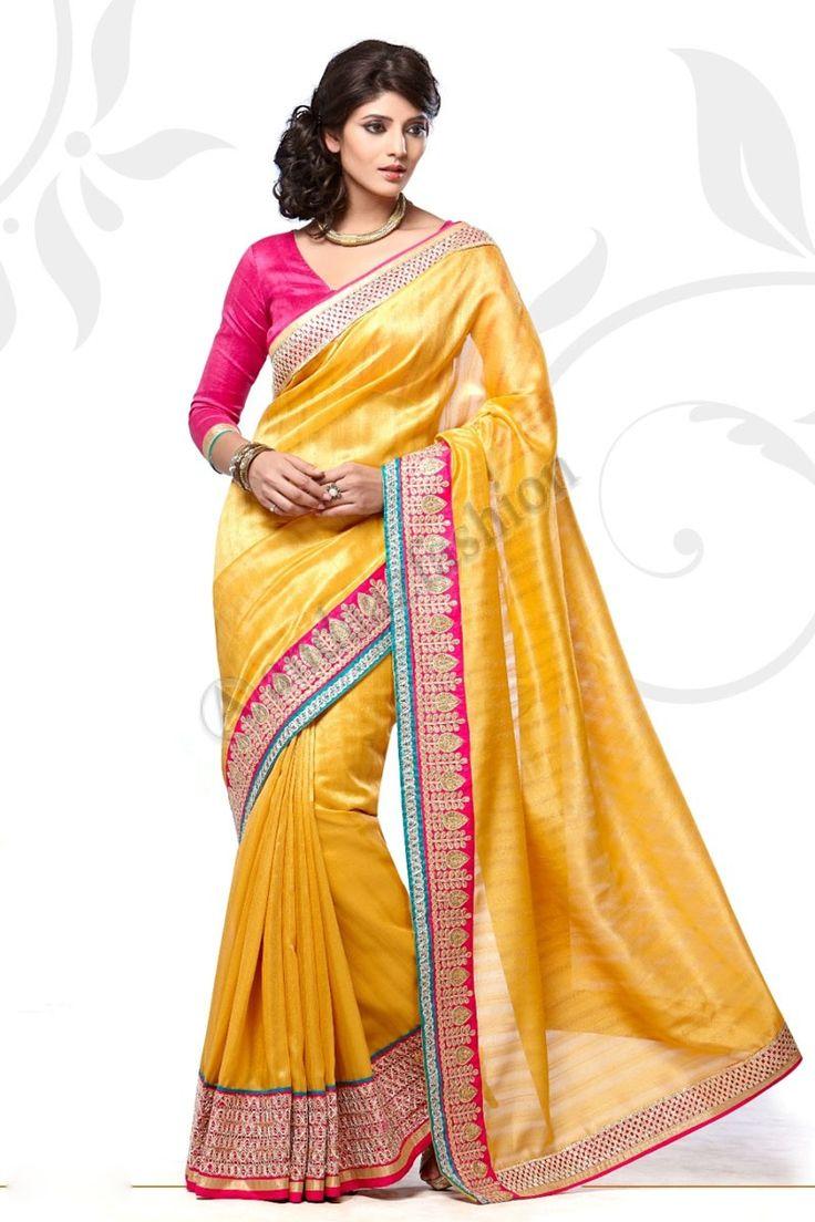 Jaune Manipuri Saree avec Blouse rose Jacquard design n ° DMV7549 Prix: - 56,77 €  robe Type: Saree Tissu: Manipuri Couleur: Jaune Décoration: brodé, Plaine Pallu Pour plus de détails: -  http://www.andaazfashion.fr/yellow-manipuri-saree-with-pink-jacquard-blouse-dmv7549.html