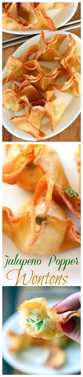 Crispy wontons filled with warm, Cheesy jalapeno dip. Served spicy or mild, these crunchy snacks are easy to make and fun to eat.