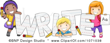 Clipart Preschool Kids With The Word Write Royalty Free