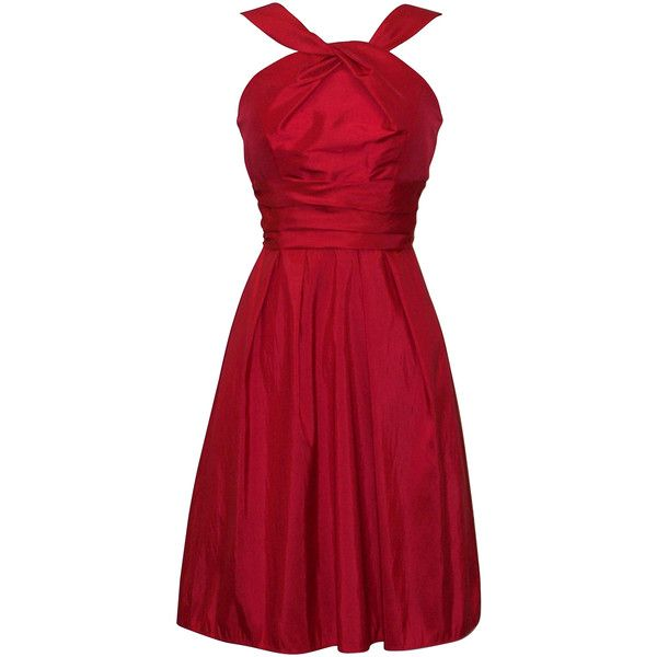 Taffeta Halter Bridesmaid Dress Prom Party Formal Gown KneeLength |... ($51) ❤ liked on Polyvore
