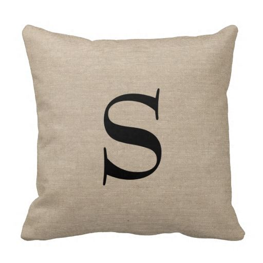 Monogram faux linen burlap rustic chic initial jut pillows